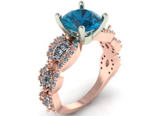 женское авторское кольцо с камнями