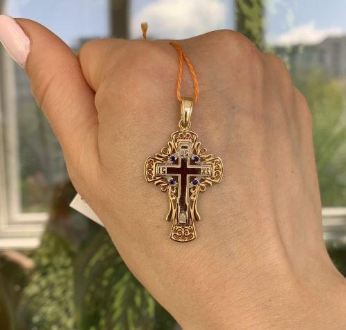 крест Contour в лимонном и белом золоте с темно-синими камнями