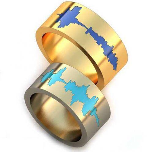 обручальные кольца с эмалью без камней