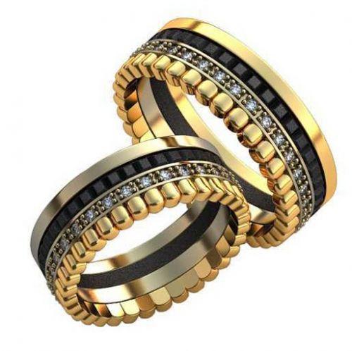 Кольца Cuore в красном и белом золоте с чернением