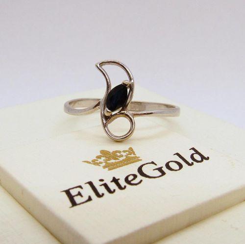 кольцо с сапфиром в белом золоте