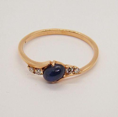 кольцо с сапфиром и бриллиантами в красном золоте 585