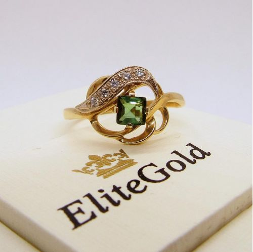 кольцо с зеленым турмалином фото