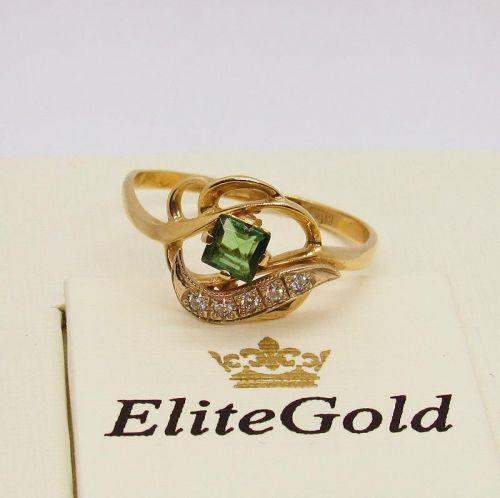 кольцо с турмалином и бриллиантами
