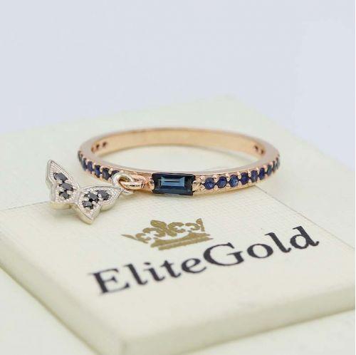 дизайнерское тонкое кольцо Malibu light с синими и черными камнями