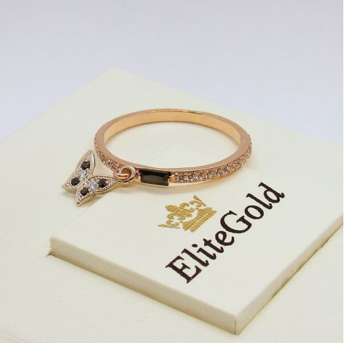 дизайнерское тонкое кольцо в золотой оправе с камнями и бабочкой