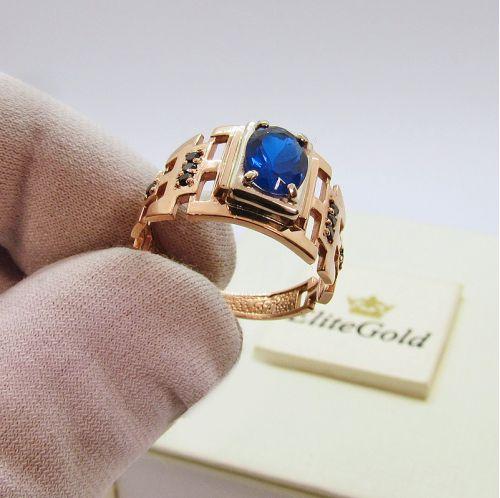 Дизайнерское мужское кольцо Parlamenter в красном золоте с камнями