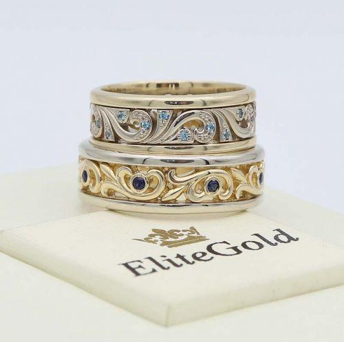 кольца Fiore с топазами и сапфирами в лимонном и белом золоте