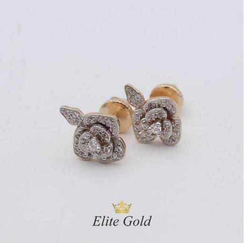 серьги Eden Rose в белом и красном золоте