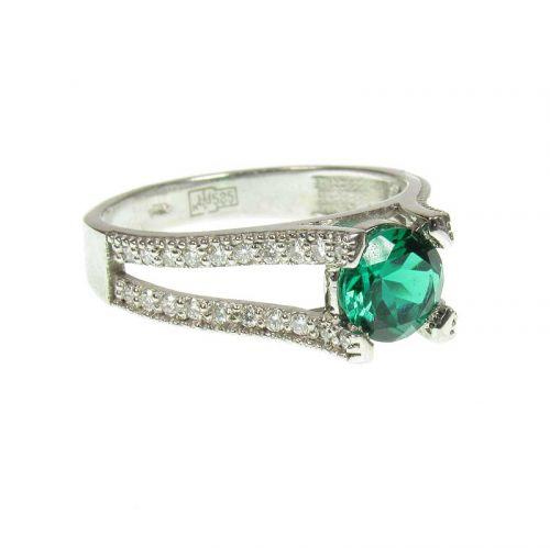кольцо Gigi с 40 бриллиантами и гидротермальным изумрудом в белом золоте