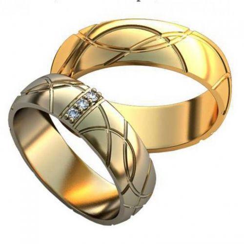Авторские обручальные кольца с узорами и камнями