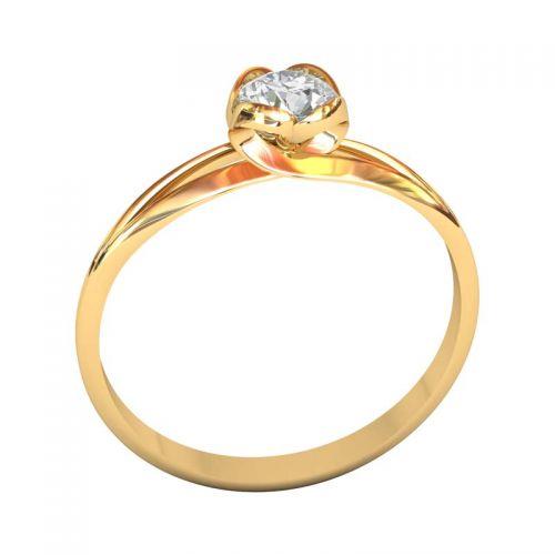 женское кольцо солитер для помолвки с круглой площадкой