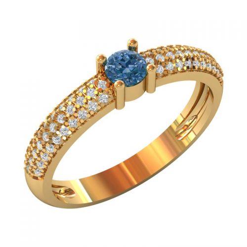 дизайнерское кольцо с камнями по кругу и центральным