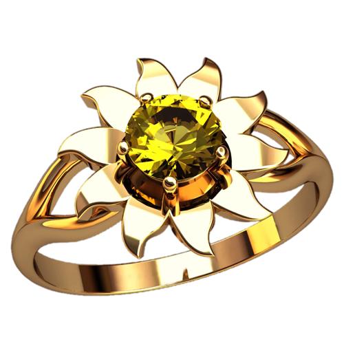 Кольцо в виде подсолнуха с центральным камнем