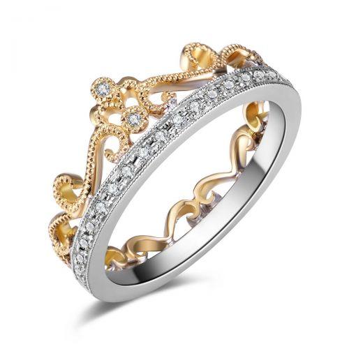 кольцо-корона в белом и лимонном золоте