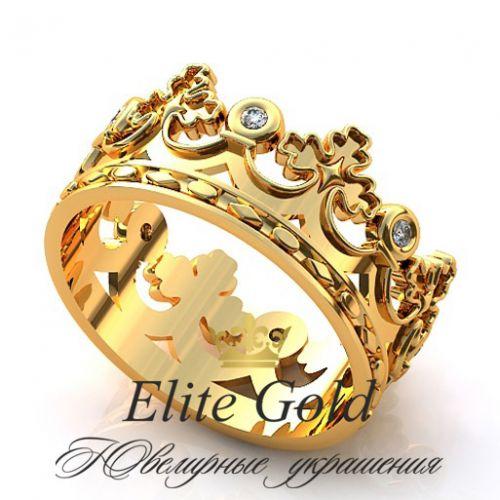 золотое кольцо корона с белыми камнями
