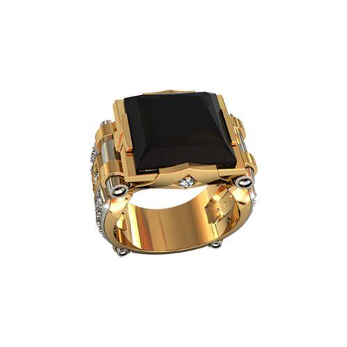 перстень с ониксом в красном и белом золоте