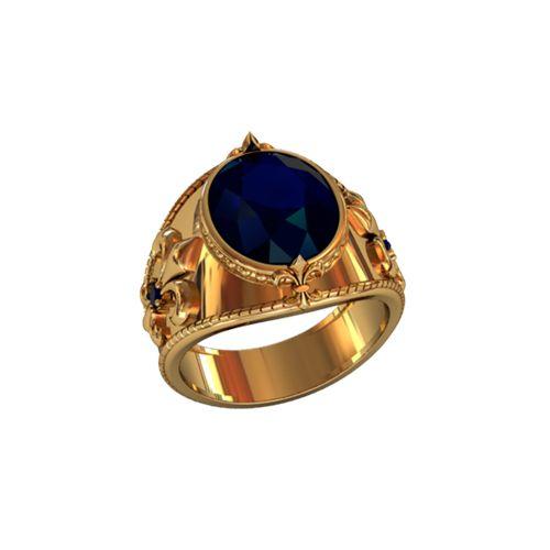 перстень Tesoro с синими камнями