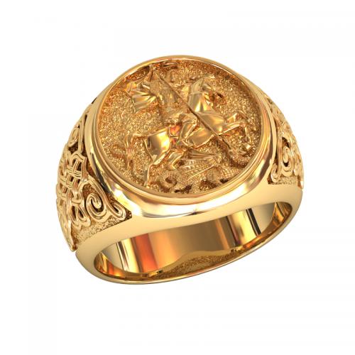 кольцо Георгий Победоносец в красном золоте