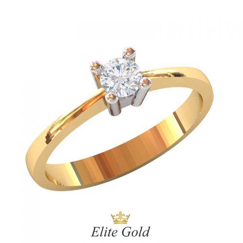 классическое кольцо для помолвки в красном золоте с белым кастом