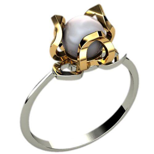 женское кольцо с жемчугом