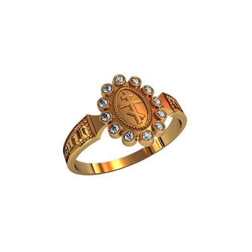 кольцо Спаси и Сохрани с белыми камнями