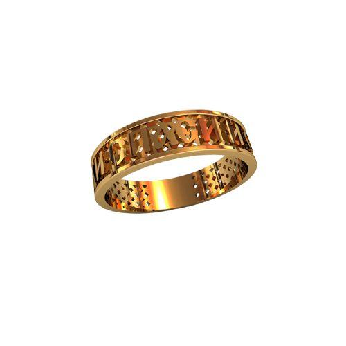 """Кольцо """"Спаси и Сохрани"""" в красном золоте"""