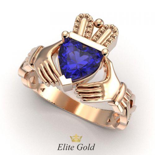кладдахское кольцо для помолвки с синим камнем в красном золоте