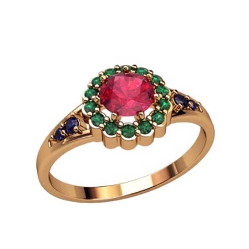 женское кольцо с круглым камнем