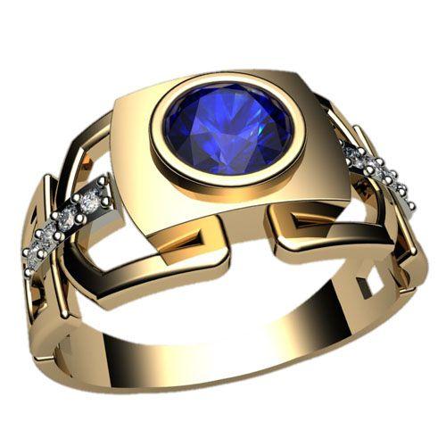Мужское кольцо цепь с центральным камнем