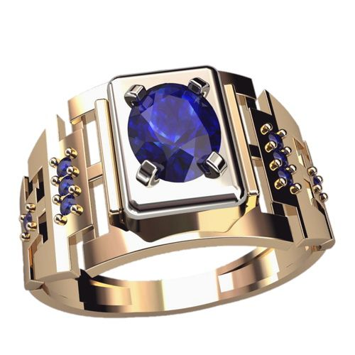 кольцо Parlamenter в красном и белом золоте с синими камнями