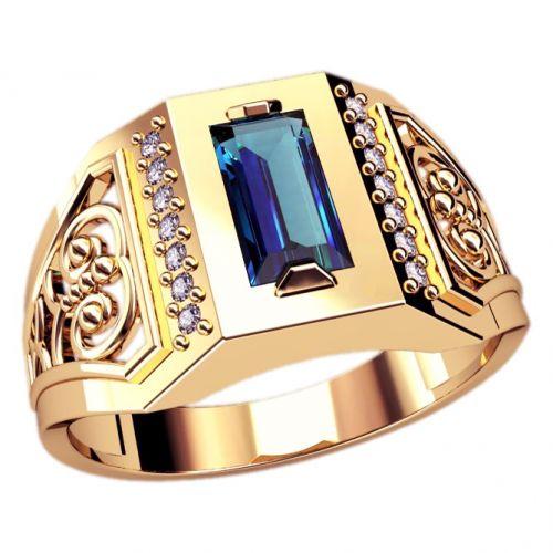 мужское кольцо с камнем и узорами
