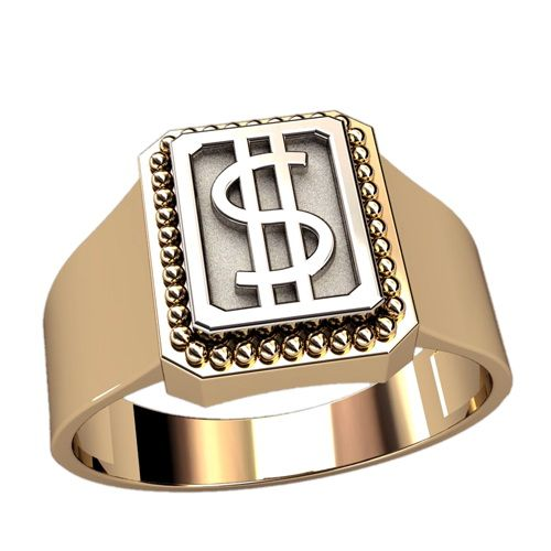 кольцо печатка со знаком доллара