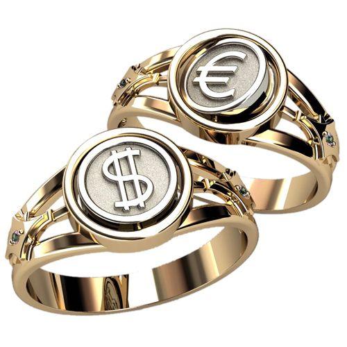 мужское кольцо со знаками евро и доллара
