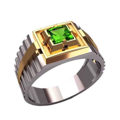 перстень Альянс в белом и лимонном золоте с зеленым камнем