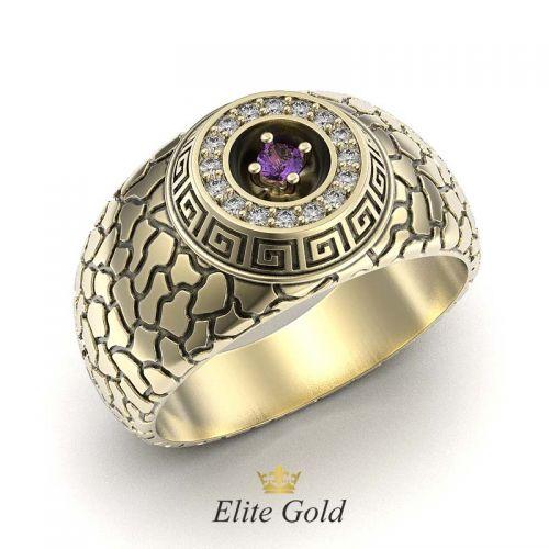 кольцо Exodus в лимонном золоте с чернением