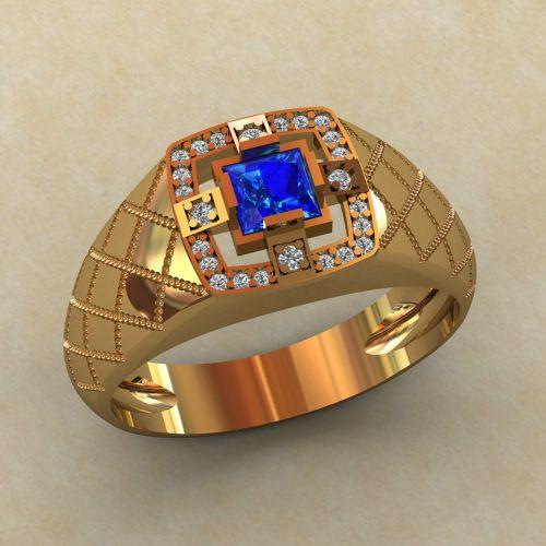 Мужское кольцо на каждый день с квадратным камнем