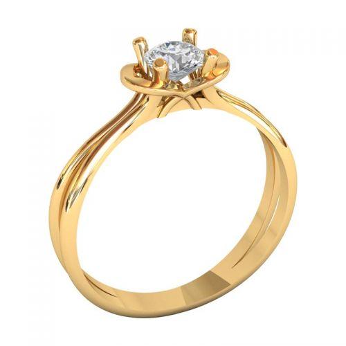 классическое женское кольцо с камнем и узором