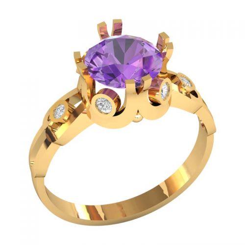 женское кольцо с большим центральным камнем