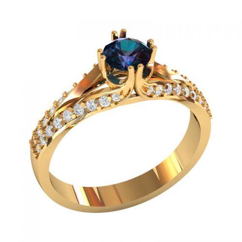 кольцо Bluebell с центральным камнем синего цвета