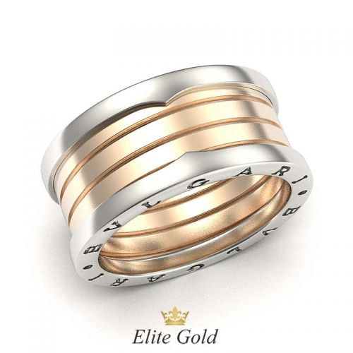 кольцо булгари в двух цветах золота 4 спирали