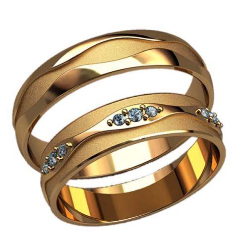 обручальные кольца волны с матовыми вставками