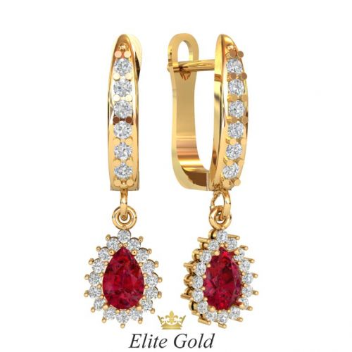 серьги Sarina в красном золоте с красными и белыми камнями
