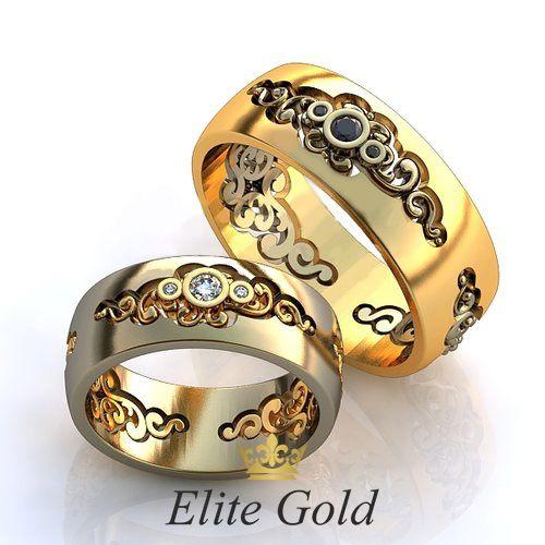 обручальные авторские кольца с камнями фантазийные
