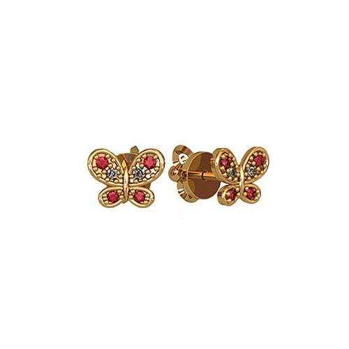серьги-бабочки в красном золоте