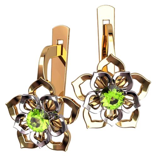 Классические серьги в форме цветочка с камнями