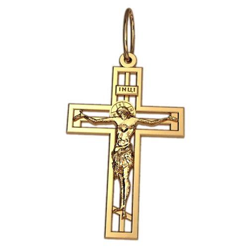 крест с распятием в красном золоте