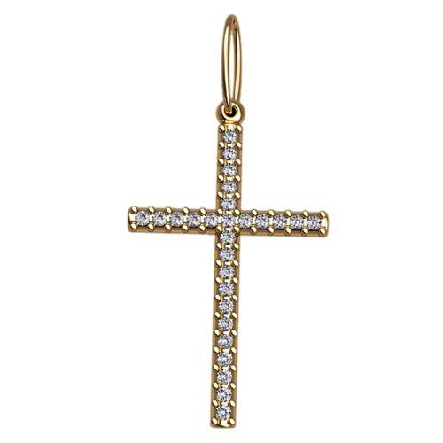 золотой крест с белыми камнями