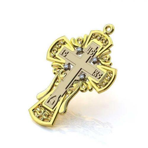 крест Contour в лимонном и белом золоте