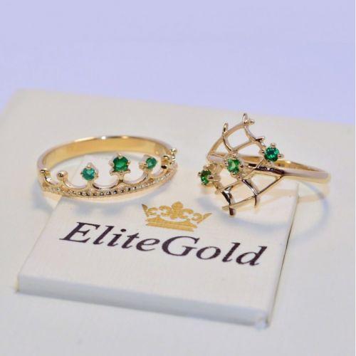 два женских кольца с зелеными камнями корона